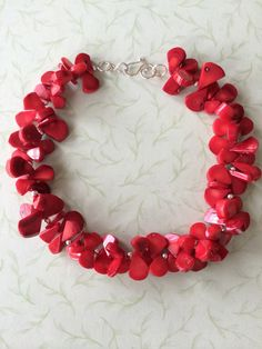 Red bamboo coral necklace featuring sterling by NeckCandyLove