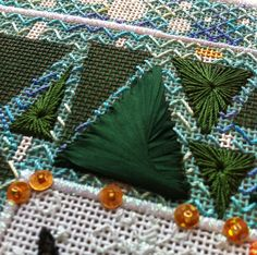 It's not your Grandmother's Needlepoint: Trees in the forest- beautiful ribbon effect
