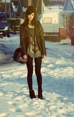 leather jacket for winter, alternative style