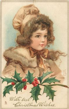With Best Christmas Wishes ~ pretty Victorian girl in brown, with holly