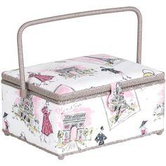 Prym Consumer USA Rectangle Sewing Basket, Pink and Grey