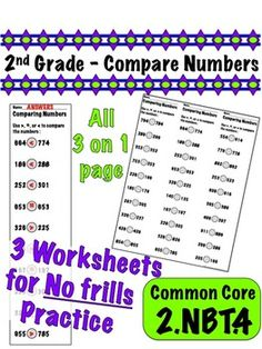 2nd Grade Compare Numbers - Common Core 2.NBT.4 $1