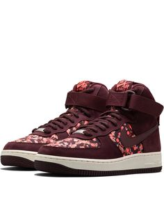 Nike x Liberty Burgundy Belmont Ivy Liberty Print Air Force 1 Hi Trainers | Shoes by Nike x Liberty | Liberty.co.uk