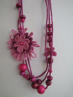 Hot pink necklace - beads and crochet