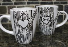 Tree Mugs with Initials.  Love this idea