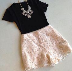 Black top & lace shorts #swoonboutique