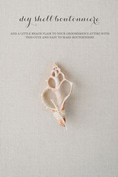 DIY Seashell Boutonniere | Beach Wedding Idea via Bayside Bride