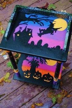 Halloween painted table