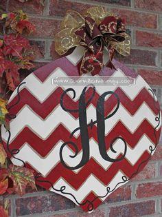 christmas monogram, dorm room decorations, christma door, monogram chevron, christmas door hangers, ornament christma, front doors, chevron christmas, chevron ornament