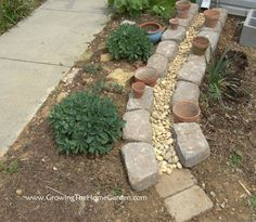 Dry Creek Bed Drainage Canal for Downspouts