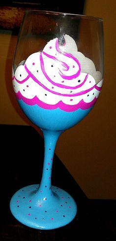 Cupcake hand painted birthday wine glass. $14.00, via Etsy.