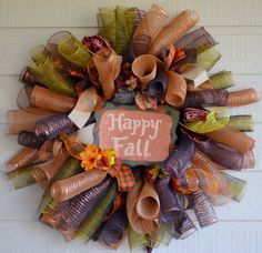 Fall Decor - Fall Wreath - Deco Mesh Wreath - super cute - might do for spring instead...