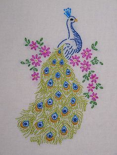 embroideri inspir, tea towels, colors, peacock embroideri, peacock designs, beads, a tattoo, new tattoos, crafts