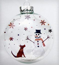 Glass Pup and Snowman Holiday Ornament.