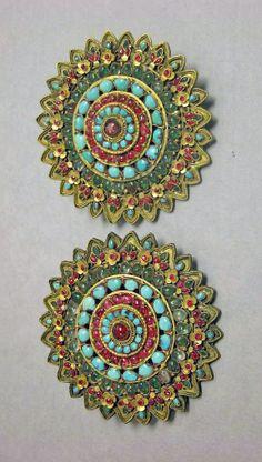 Tibet   Rosette; gold with precious stones   17th - 19th century