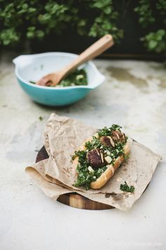 Eggplant Ball Sub w/ Kale Salad + Tahini, Harissa Sauce
