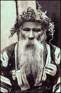 AN AINU PATRIARCH of OLD JAPAN. From a ca.1920 collotype photograph published in Japan. Photographer unknown.