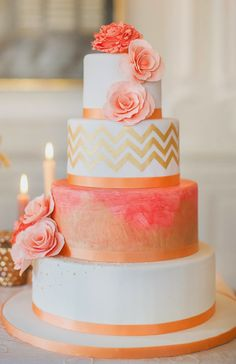 Coral and Gold Cake with Chevron and Roses