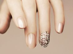 Nude with Rhinestones Nails