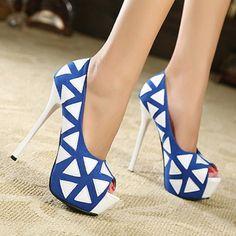 Blue Pu Triangle Print Pump Heels Ouchy - but i love them!