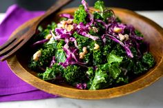 Recipe: Kale and Red Cabbage Slaw With Walnuts || Photo: Andrew Scrivani for The New York Times