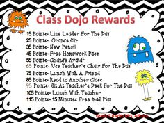 Class Dojo Rewards, some good ideas and some that could be tweaked