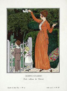 Madeleine Chéruit, mother and children, 1913. Illustration by Pierre Brissaud.