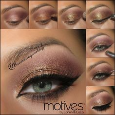 Apply the wine red shade from the @motivescosmetics for @lala Secret Fantasies palette on the as transition shade & blend it out. ~Apply the copper shade from the Red Carpet palette onto the rest of the lid ~Using the Motives Glitter Base, apply the Gem Dust in 24K onto the copper eyeshadow ~Apply Gel Eyeliner LBD along the top lash line & wing it out ~Apply Khol Eyeliner in Earth onto the waterline & darken the lower lash line with Raven from the Elements palette ~Apply false lashes & mascara