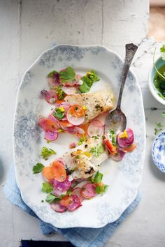 Alaskan black cod with shaved beet, carrot and radish salad | Cannelle Et Vanille