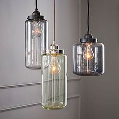 Three Beautiful Glass Pendant Lights - Love these and want them for my home office!