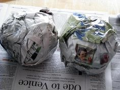 Wad up newspaper and secure with packing tape. SO MUCH CHEAPER than using styrofoam balls for topiaries and craft projects. These were used with cupcake liners hot glued to them for a topiary.