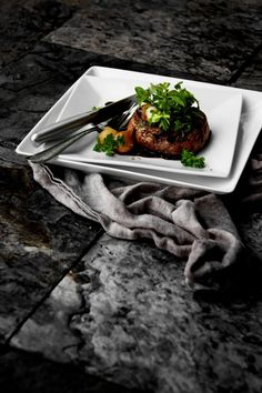 Bacon-wrapped Filet Mignon with Red Wine Sauce and Micro-Greens Salad ...