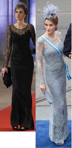 Doña Letizia viste del diseñador español Felipe Varela similares vestidos en los de entronización en Holanda. También lleva  similares  zapatos pee toes con abertura delantera .