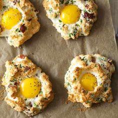 clouds, egg recipes, egg cloud, egg cups, breakfast, bacon, brunch, biscuits, egg whites