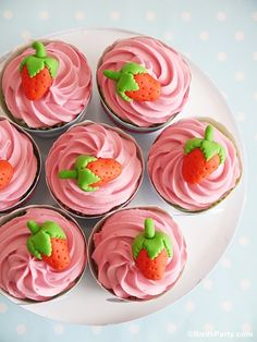 Strawberry Cupcakes and DIY Fondant Strawberry Toppers by @Bird's Party ~ darling!
