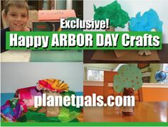 Exclusive Tree Crafts For Kids for #ARBORDAY Apr 24 http://www.planetpals.com/craft_recycle_arborday_earthday_tree.html