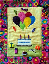 """Party! Button Quilt Pattern With Buttons by Mouse Blankets at KayeWood.com. Quick Assembly with raw edge applique, envelope construction, includes buttons. Size: 9 1/2 x 12"""" http://www.kayewood.com/item/Party_Button_Quilt_Pattern_With_Buttons/3625 $16.00"""