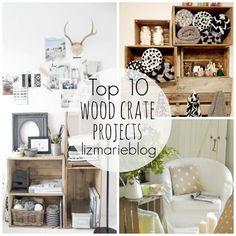 wooden crate shelves diy shoes | Top 10 Wood Crate Projects- lizmarieblog.com