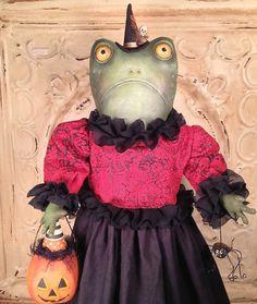 Folk Art Halloween Toad witch doll pumpkin by FolkArtByPenny....so cute!!