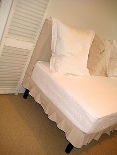 DIY twin slip-covered daybed.