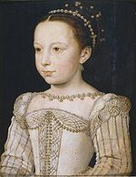 Margaret of Valois by Francois Clouet, c. 1560.  Third daughter of Henry II of France and Catherine de Medici, she was the sister of Kings Francis II, Charles IX and Henry II of France, Queen Elisabeth of Spain, and was herself Queen of Navarre and of France through her marriage to King Henry III of Navarre, later King Henry IV of France.  Sister-in-law of Mary Queen of Scots.