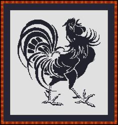 Free Rooster Pictures to Print | Cross Stitch Works: Rooster Black and White 101011135 Free Cross ...
