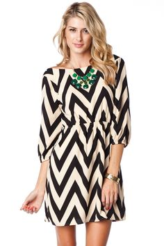ShopSosie Style : Forever Zig Zag Cinch Dress in Creme Classic