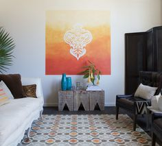 Stenciled Ombre Wall Art with Modello Designs EastMot119B Stencil | Royal Design Studio Chez Ali Stencil on Hardwood Floor | Shannon Kaye for the DIY Network