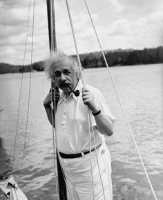 Albert Einstein in a vintage polo.