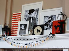 Switch out traditional family photos on your mantel for ones from Halloweens past.