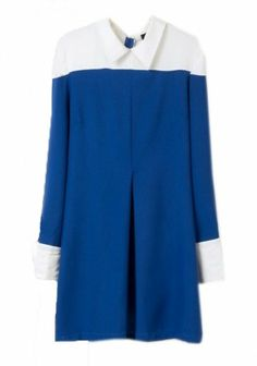 Blue Patchwork Long Sleeve Above Knee Polyester Dress