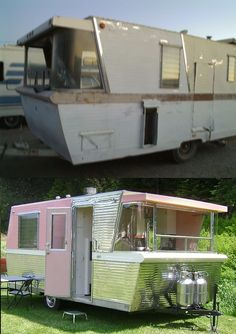 Holiday House trailer in need of restoration in top photo, and Holiday House trailer after restoration in bottom photo. They're rare, and really quite special...