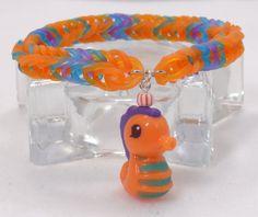rainbow loom, seahors, bracelet secret, orang teal, woven bracelet