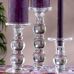 Glass Candle Holders with Purple Candles